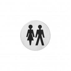 Intersteel Pictogram dames- en herentoilet zelfklevend rond rvs geborsteld