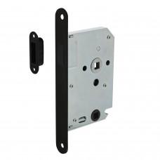 Intersteel Woningbouw magneet badkamer/toilet slot 63/8mm, voorplaat afgerond zwart